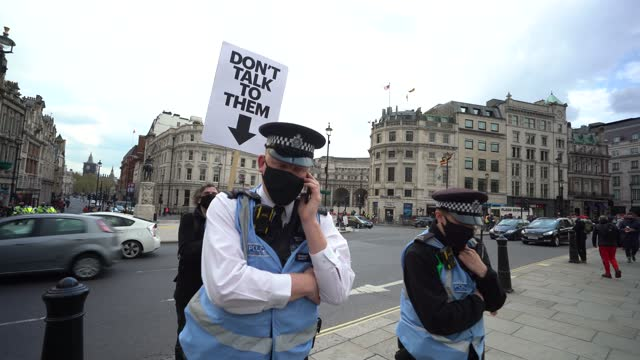 police officers as protesters demonstrate in trafalgar square during a kill the bill protest on may 1, 2021 in london, united kingdom. this is the... - square stock videos & royalty-free footage