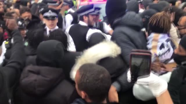 police officers clash with protestors at parliament square during an anti-racism demonstration in london, on june 3 after george floyd, an unarmed... - 2020 stock videos & royalty-free footage