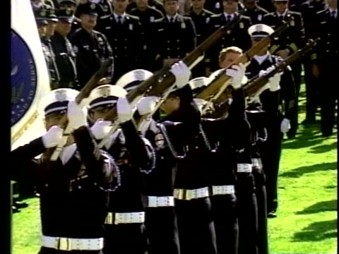 police officers fire rifles as they honor murdered rookie officer christy hamilton. - rifle stock videos & royalty-free footage