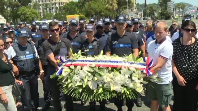 Police officers in Nice paid tribute on Monday to the 84 victims of the Bastille Day terror attack