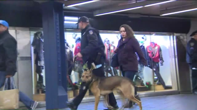 WPIX Police Officers in NYC Subway passageways on the day after an attempted terrorist attack on Dec 12 2017