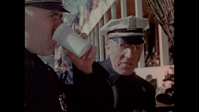 police officers on duty during fdr's third inauguration take a snack break - franklin roosevelt stock videos & royalty-free footage