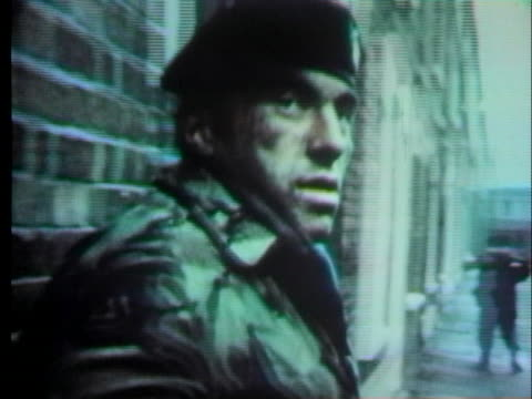 police officers patrol belfast after more bombings rock the city - 1973 stock videos & royalty-free footage