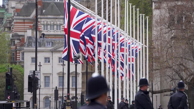 police on whitehall ahead of the state opening of parliament at downing street on may 11, 2021 in london, england. - british royalty stock videos & royalty-free footage