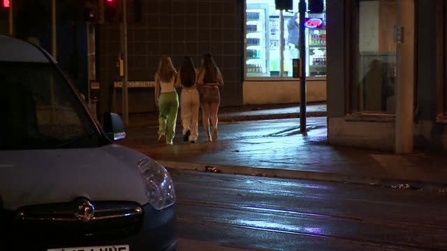 police ordered to investigate spiking in nightclubs after rise in reports; england: nottingham: ext / night women away - itv lunchtime news stock videos & royalty-free footage