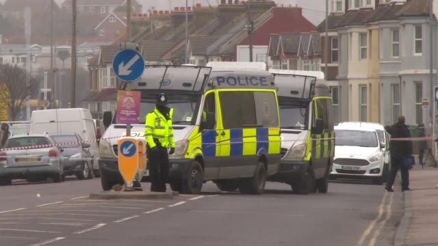 police questioning man on suspicion of murder after two women shot dead at house in st leonards england east sussex st leonards ext various of police... - east sussex stock videos & royalty-free footage