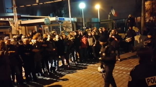 police remove striking workers from an ratp bus depot in saint denis near paris which they had blocked on the 41st day of industrial action against... - strike industrial action stock videos & royalty-free footage