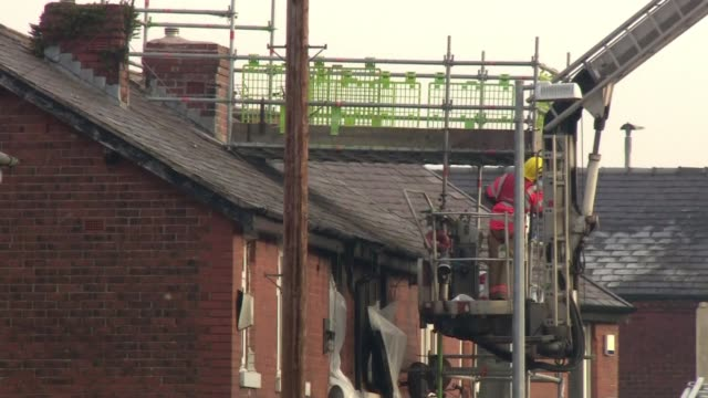 Police say Salford house fire in which three children died was a targeted attack ENGLAND Greater Manchester Salford Walkden EXT Various of forensic...