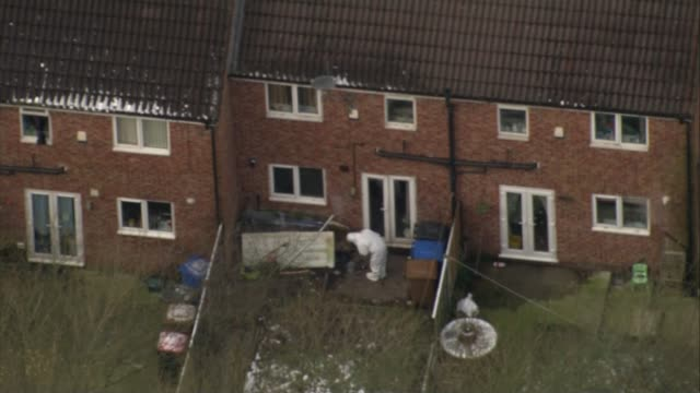 Police say Salford house fire in which three children died was a targeted attack Greater Manchester Salford Walkden VIEW / AERIAL police forensic...