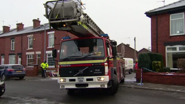 Police say Salford house fire in which three children died was a targeted attack Greater Manchester Salford Walkden EXT Police officers outside house...