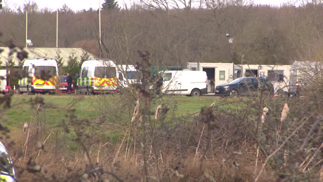police search at site in ashford, kent, where the body of sarah everard was found, a metropolitan police officer has been charged with her kidnap and... - tree area stock videos & royalty-free footage