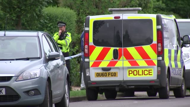police search for jed allen in oxford university parks england oxfordshire didcot ext various of police officers in cordonedoff road at murder scene... - didcot stock videos and b-roll footage