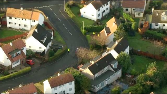 Police search for missing boy in Edinburgh Aerial shots SCOTLAND Edinburgh residential area where three year old boy Mikaeel Kular went missing...