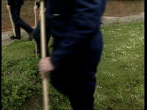 police search for missing toddler rosie palmer ext line of police holding long sticks and searching grass reporter to camera - itv weekend evening news stock-videos und b-roll-filmmaterial