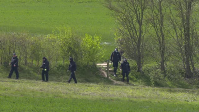 police searching fields near dover in kent, close to where the body of julia james was found - kent england stock videos & royalty-free footage