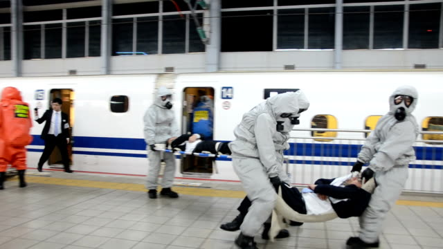 police secured a sanyo shinkansen bullet train at jr kokura station in a terror response drill which began in the late hours of april 1 and continued... - kyushu shinkansen stock videos & royalty-free footage