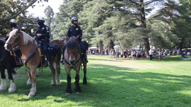 police standby as thousands of protesters opposing vaccine mandates march past the capitol building in sacramento as lawmakers do not gain enough... - 10 seconds or greater stock videos & royalty-free footage