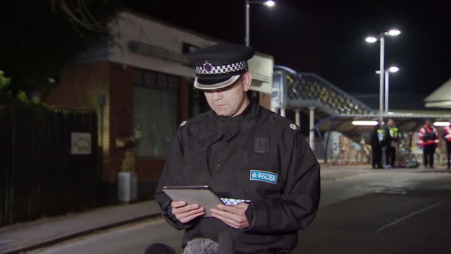 police statement from superintendent paul langley, british transport police, regarding the stabbing and murder of lee pomeroy on train at horsley - police statement stock videos & royalty-free footage