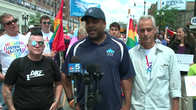 WGN Police Superintendent Eddie Johnson spoke to members of the media before the start of the 48th Annual Chicago Pride Parade on June 25 2017