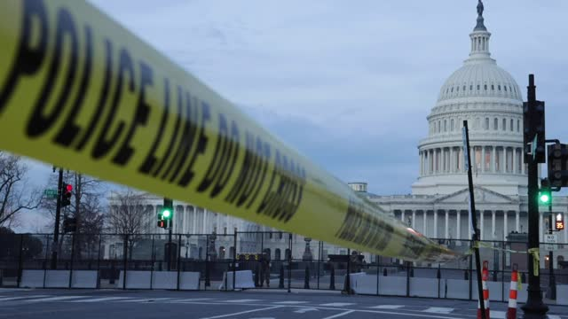 police tape keeps people away from the u.s. capitol along east capitol street ne the day after the house of representatives voted to impeach... - security staff stock videos & royalty-free footage