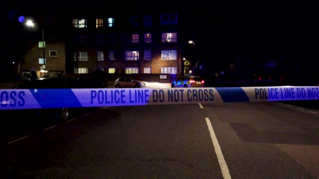 police tape shown at regents park mosque following a nearby fatal stabbing on march 28 2019 in london england police are working at the scene of an... - 刺傷事件点の映像素材/bロール