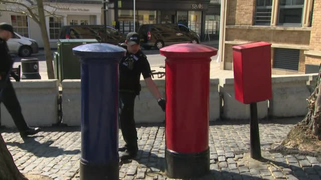 police teams checking postboxes in windsor before the marriage ceremony of prince harry and meghan markle - mailbox stock videos and b-roll footage