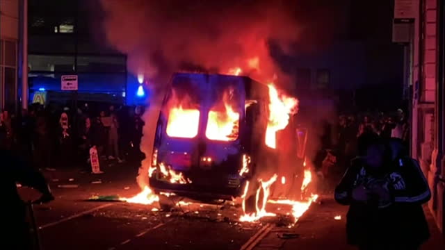 police van on fire after kill the bill protest in bristol, against the police and crime bill, descended into violence - conflict stock videos & royalty-free footage