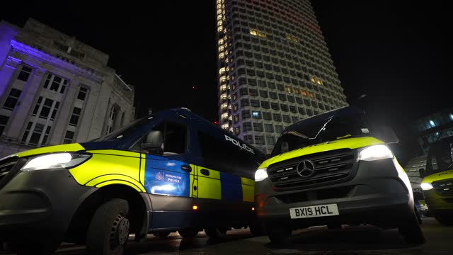 police vans close off the junction of oxford street and tottenham court road during the million masked march in central london on november 5, 2020 in... - tottenham court road stock videos & royalty-free footage