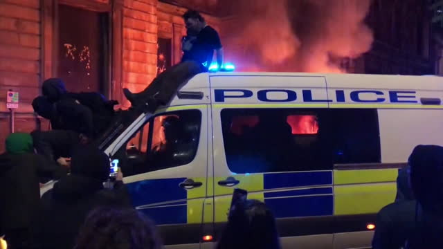 police vans on fire or surrounded by protesters as kill the bill protest in bristol descends into violence - fire natural phenomenon stock videos & royalty-free footage