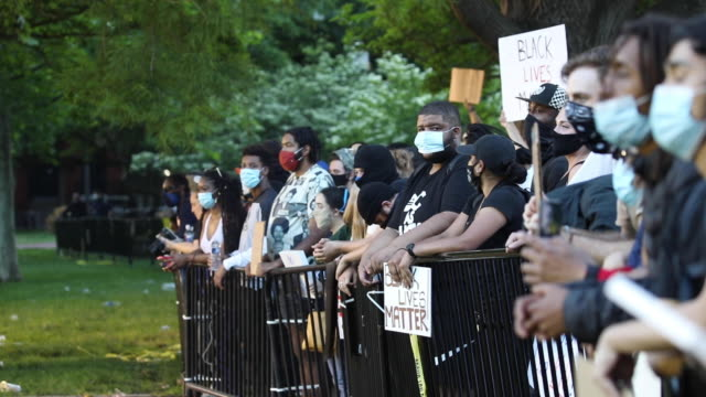 police work to keep demonstrators back during a protest on may 31 2020 in washington dc across the country protests were set off by the recent death... - george floyd stock videos & royalty-free footage