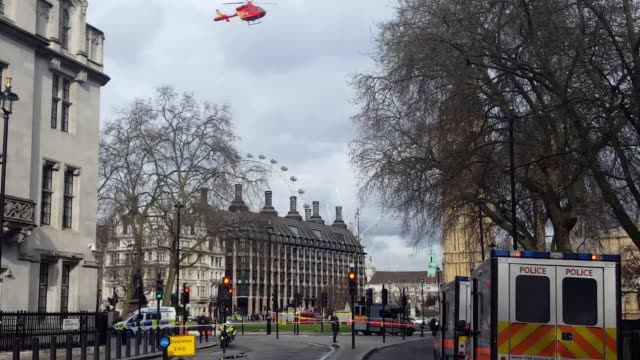 A policeman has been stabbed and his apparent attacker shot by officers in a major security incident at the Houses of Parliament An air ambulance...