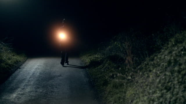 vídeos y material grabado en eventos de stock de a policeman with a flashlight walking along a dark country road halts a car to a stop - linterna