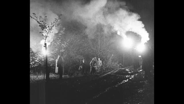 VS Policemen and volunteers searching woods for Lindbergh baby under light of torches / Charles Lindbergh and Anne Morrow Lindbergh posing together...