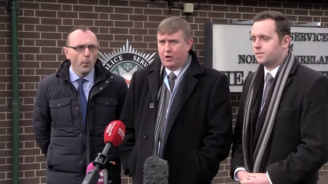 dup policing board members councillor george dorrian mlas mervyn storey and gary middleton met psni chief constable george hamilton at police hq in... - 後を追う点の映像素材/bロール