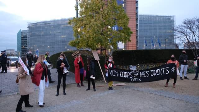 polish demonstrators, mainly women, in front of the berlaymont, the eu commission headquarters union protest against the new restriction on abortion... - justice concept stock videos & royalty-free footage