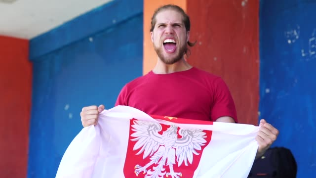 polish fan watching a soccer game - fan enthusiast stock videos & royalty-free footage