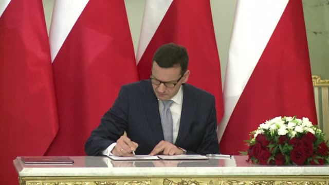 Polish Finance Minister Mateusz Morawiecki is sworn in as prime minister replacing Beata Szydlo who will be his deputy in a rightwing government at...