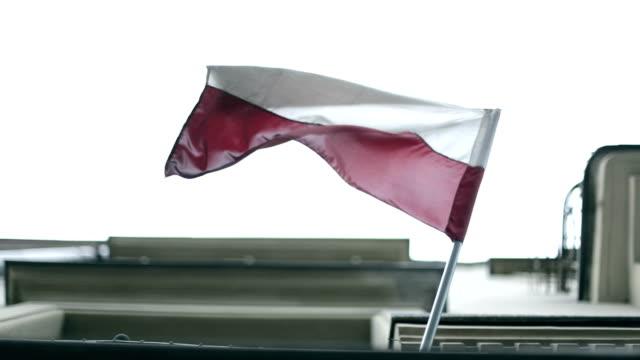 Polish flag, wind, house, krakow