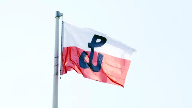 polish flag with fighting poland symbol on - warsaw stock videos & royalty-free footage