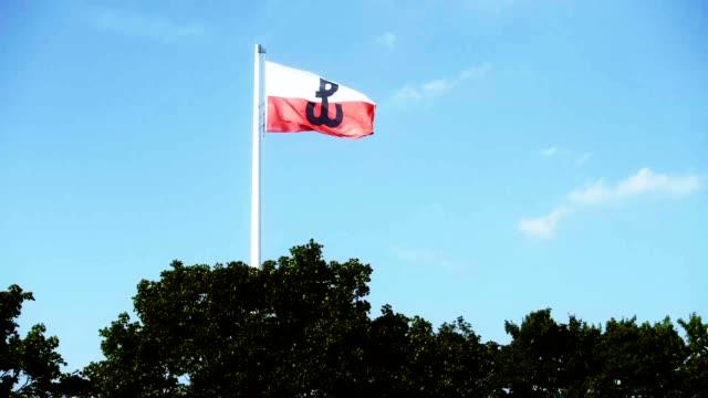 vidéos et rushes de drapeau polonais avec le symbole de la lutte contre pologne dans agitant au-dessus des cimes - varsovie