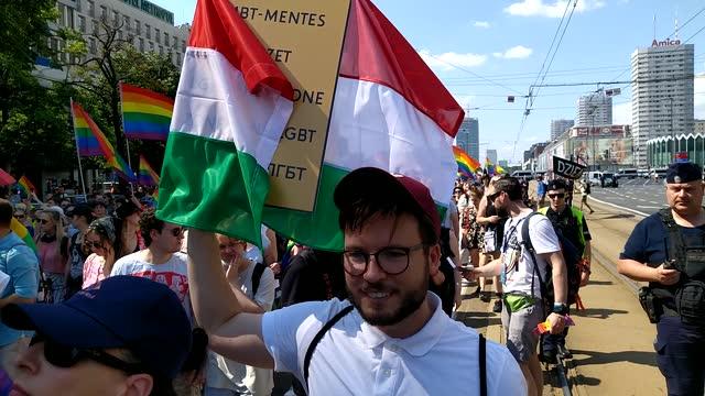 "polish lgbt activist, bartosz staszewski holds a sign saying ""lgbt free zones"" in different languages including hungarian during the pride march on... - ungern bildbanksvideor och videomaterial från bakom kulisserna"