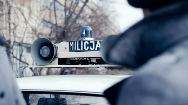 polish martial law 1981. socialist militia patrol with vintagecar - 1981 stock videos & royalty-free footage