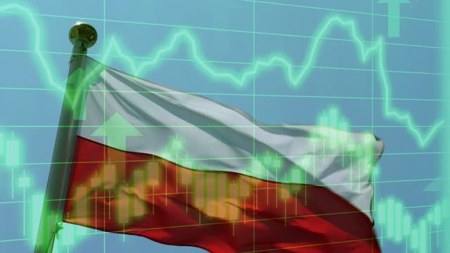 polish national flag with positive growth chart and graph data. concept piece to indicate improving gdp, stock market crash, recession, depression, inflation, deflation, bull market, good national, economic and business performance - bull market stock videos & royalty-free footage