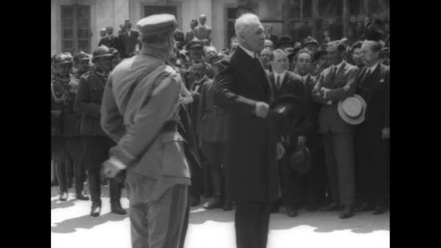 polish president ignacy moscicki reviews troops with minister of war jozef pilsudski and they stand as cavalry of white horses passes with a military... - warsaw stock videos & royalty-free footage