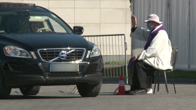 polish priests have set up drive-through confessionals in the church's parking lot, so that worshippers and clergy from warsaw's temple of divine... - easter stock videos & royalty-free footage