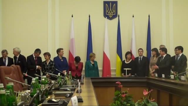 Polish Prime Minister Ewa Kopacz attends a meeting with Ukrainian Prime Minister Arseniy Yatsenyuk within Kopacz's official visit in Kiev Ukraine on...
