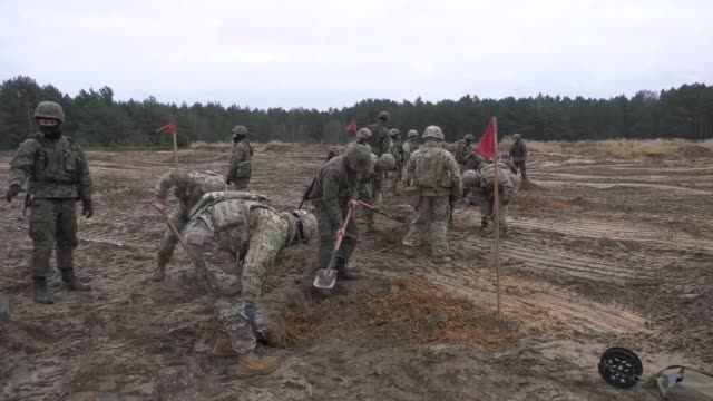 Polish soldiers from the 2nd Engineer Battalion 5th Engineer Regiment and US Soldiers assigned to 82nd Brigade Engineer Battalion 2nd Armored Brigade...