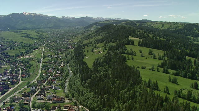Polish town Zakopane and the view of Gubalowka mountain.