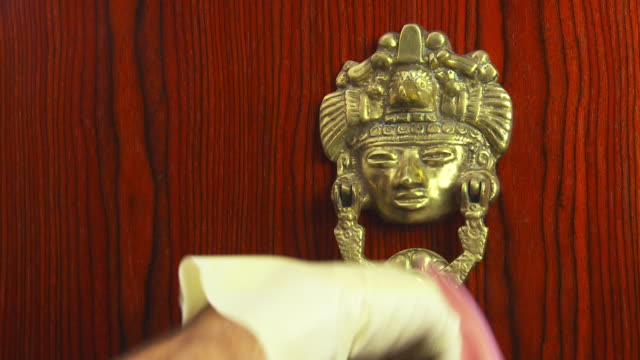 polishing door knocker - door knocker stock videos & royalty-free footage
