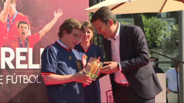 political authorities and personalities from the world of sports such as fernando torres celebrate the 10th anniversary of the victory of the spanish... - nationalmannschaft stock-videos und b-roll-filmmaterial